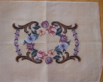 Vintage pre-worked needlepoint. Floral border.