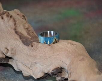 Titanium ring with maple burl