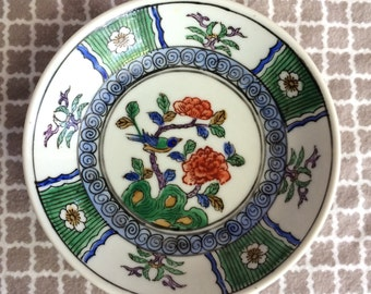 Vintage japanese porcelainware hand painted hong kong - acf - flower and bird hand painted small bowl
