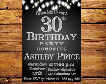 30th birthday invitation women,Thirty and fabulous, Women 30th 40th 50th 60th 70th Any Age Bday Invite,Printable digital DIY.