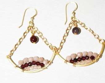 Beaded Chandelier Earrings, Boho Jewelry