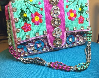 Beads and Crystals Embeliished Handmade Purse with Hidden Handle - Fully Embellished in Cute Flowers and Crystals. Absolutely a piece of art