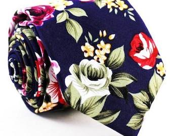Blue Floral Necktie, Floral Tie, Mens Tie, Mens Skinny Tie, Floral Skinny Tie, Mens Floral tie