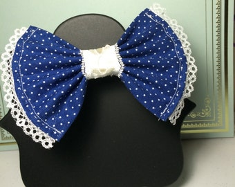 Blue Dotted Lace Bow
