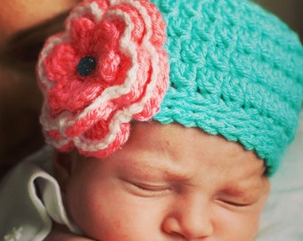 New! Pink & Turquoise Crochet Hat