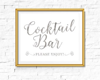 DIY PRINTABLE Silver Cocktail Bar Sign | Instant Download | Wedding Ceremony Reception Sign | Silver Foil Calligraphy | WSil1