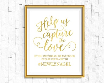 Gold Wedding Hashtag Sign | DIY PRINTABLE Share the Love Wedding Ceremony Reception | Gold Foil Calligraphy Print | Suite | WS1