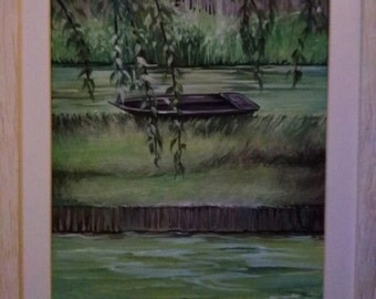 Acrylic painting on canvas, landscape, glimpse of Lake with boat, in shades of green.
