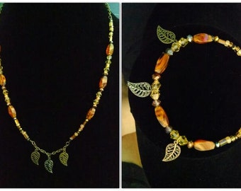 multi colored Leaf charms necklace and Bracelet set