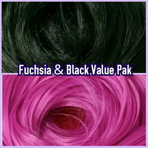 Black & Fuchsia XL 4oz 2 Color Value Pak Nylon Doll Hair Hanks Rerooting Monster High Ever After Barbie My Little Pony Crissy Sindy