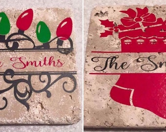 Set of 4 Custom Christmas Travertine Coasters make great gifts