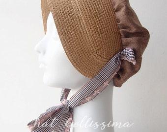 SALE Khaki  Women's straw bonnet  hatbellissima