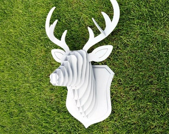 Wooden Deer head Taxidermy animals Stag head Trophy head Faux antlers Animal head Wall hanging Animal sculptures Wooden sculpture 3D puzzle