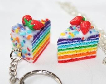 Miniature food rainbow Jewelry Cake Rainbow Charm Polymer Clay pancake Charm Necklace miniature  key chain mini jewellery cake keyring