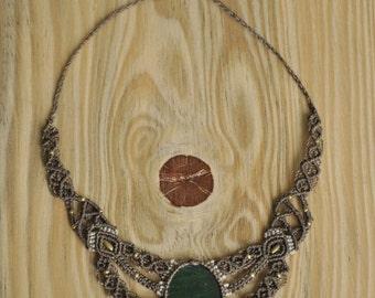 Handmade green aventurine macrame necklace