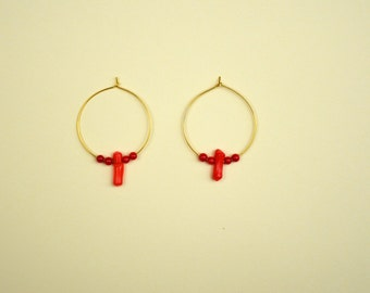 Plated hoops gold and coral