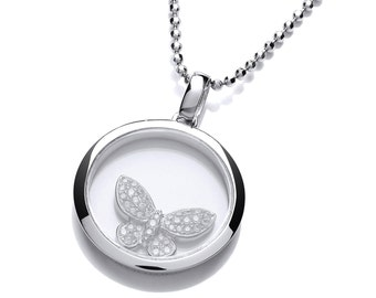 Silver and Cubic Zirconia Floating Butterfly Pendant with Chain