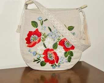 Bag shoulder, crafts, handmade (embroidery), single copy