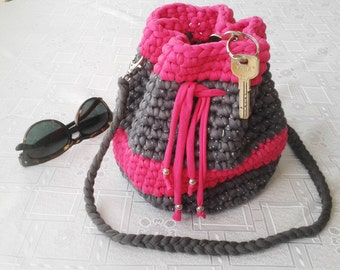 "Handbag bag shoulder bag, shoulder ""trapillo"", handmade crochet"