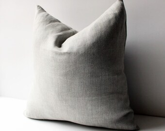 Herringbone Linen Pillow , Grey pillow, Linen Pillow Covers 20x20, 18x18, 16x16, 24x24, Gray Pillow