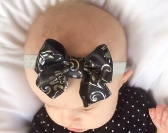 Black and silver handmade bow on silver glitter elastic headband, baby headband, infant headband, toddler headband, boutique bow,