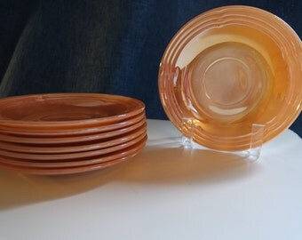 FireKing Peach Lusterware Saucers
