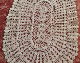 Vintage Crochet Lace Doily White Oval Cotton Blend