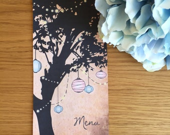 Rustic Lantern Wedding Menu - Personalised Designs by Lydia Britton