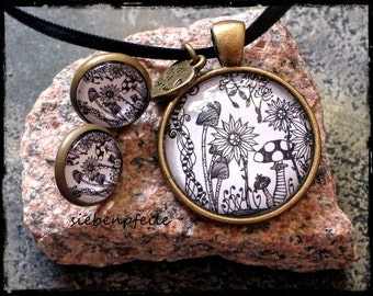 """Cabochon jewelry set """"Tangle-WildFlowers"""" (inspired by Zentangle®)"""