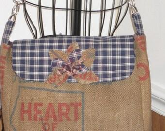 Burlap Handbag, Old Burlap Bag, Dry Goods Burlap Handbag