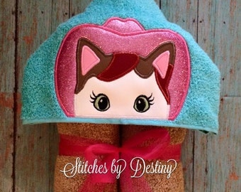 cowgirl cat hooded towel