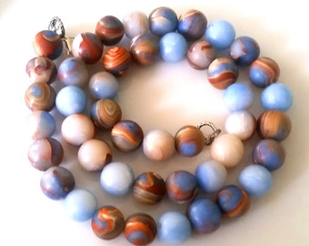 Agate necklace faux blue gray pearls 1cm delicate necklace chain Fimo Faux Agate