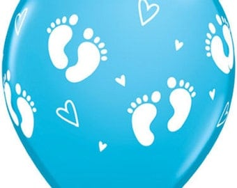 6 x BLUE Baby Footprints and Hearts Latex Balloons - Baby Shower or Birth Announcement these are perfect.