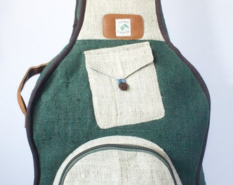 Guitar Bag Gig Bag Case Pure Hemp Backpack Style Organic Leather Natural Green