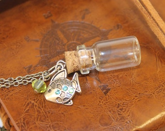 Glass Vial with Fish Charm