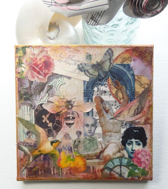 Shabby chic vintage style collage on canvas