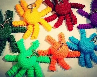 Colorful Crochet Octopus Keychain
