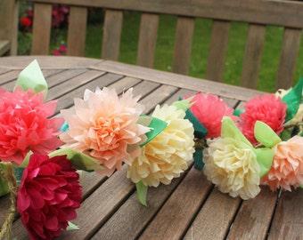 Tissue Paper Flowers, Wedding Tissue Paper Flower Garland, Wedding Flower Garland, Pom Pom Garland, Hanging Pom Poms, Flower Bunting CUSTOM