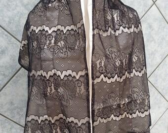 Flower Floral Black Lace Design Shawl Wrap