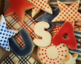 4th of July, Memorial Day, America, Patriotic decorated sugar cookies