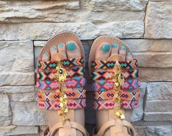 Bohemian strappy sandals, Gladiator sandals