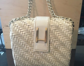 White Patent Leather Woven Handbag