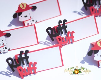 Fire Dog Place cards, Fire dog food cards