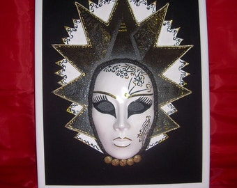 Queen,Venetian mask,made of plaster and other materials.The frame of the two 132 in/93 in. Unique,handmade, pictures to beautify your walls.