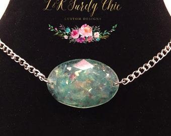 Foe Opal Choker-Oval Necklace-Resin Necklace