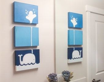 3 Piece Whale Wall Art Nursery , Bathroom