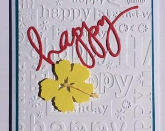 Happy Birthday Card Yellow Hibiscus