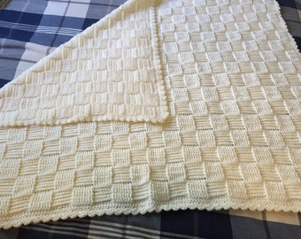 Cream colored baby blanket