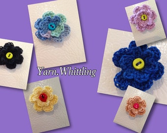 Refrigerator Magnets (set of 3), Flower Magnets, Magnets, Crochet Flower magnets, Handmade Flower, Office magnets, refrigerator Magnet,
