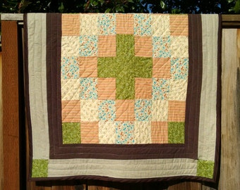 Handmade Baby quilt, lap quilt, wall quilt, brown, green,orange, blue